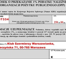 1% na Klub Szermierzy Warszawianka