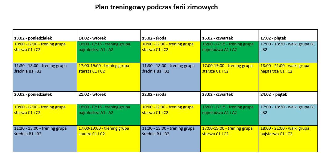 plan treningowy podczas ferii zimowych